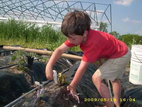 Noah waters the kids Snack Garden